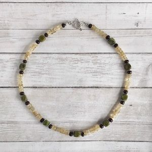 Hand Crafted Jade and Amber Necklace